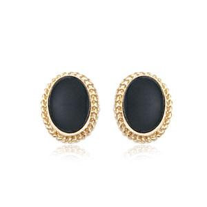 14K Yellow Gold Onyx Stud Earrings