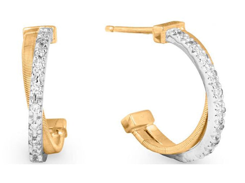 Goa 18K Yellow and White Gold Earrings With Brilliant Cut Diamonds