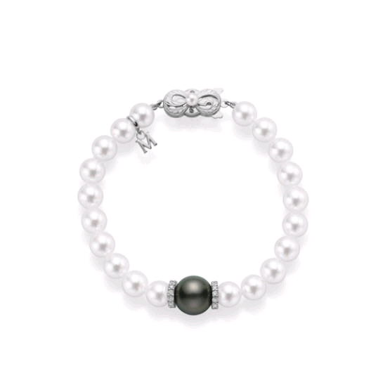 18K White Gold Pearl and Black South Sea Pearl Bracelet