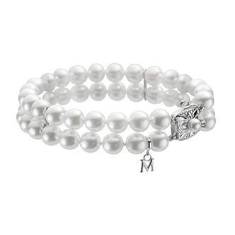 18K White Gold Double Row Pearl Bracelet