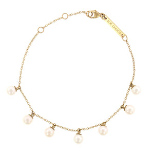 14K Yellow Gold Pearl Station Chain Bracelet