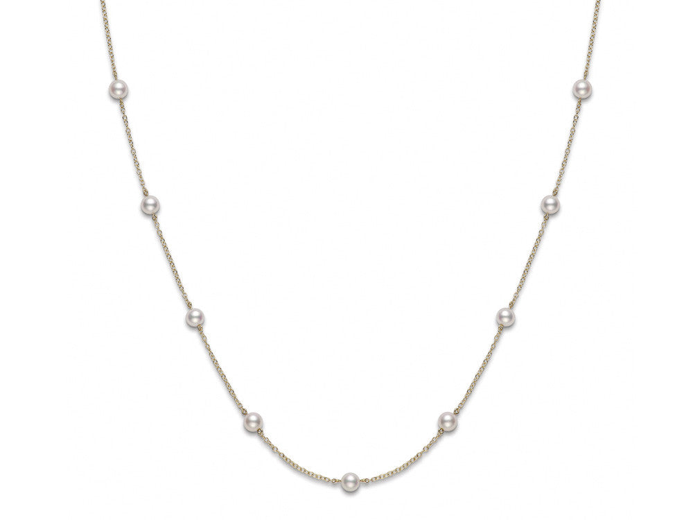 "16"" Tin Cup Pearl Necklace in 18K White Gold"