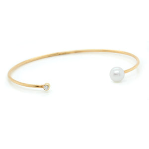 14K Yellow Gold Open Cuff Pearl and Diamond Bracelet