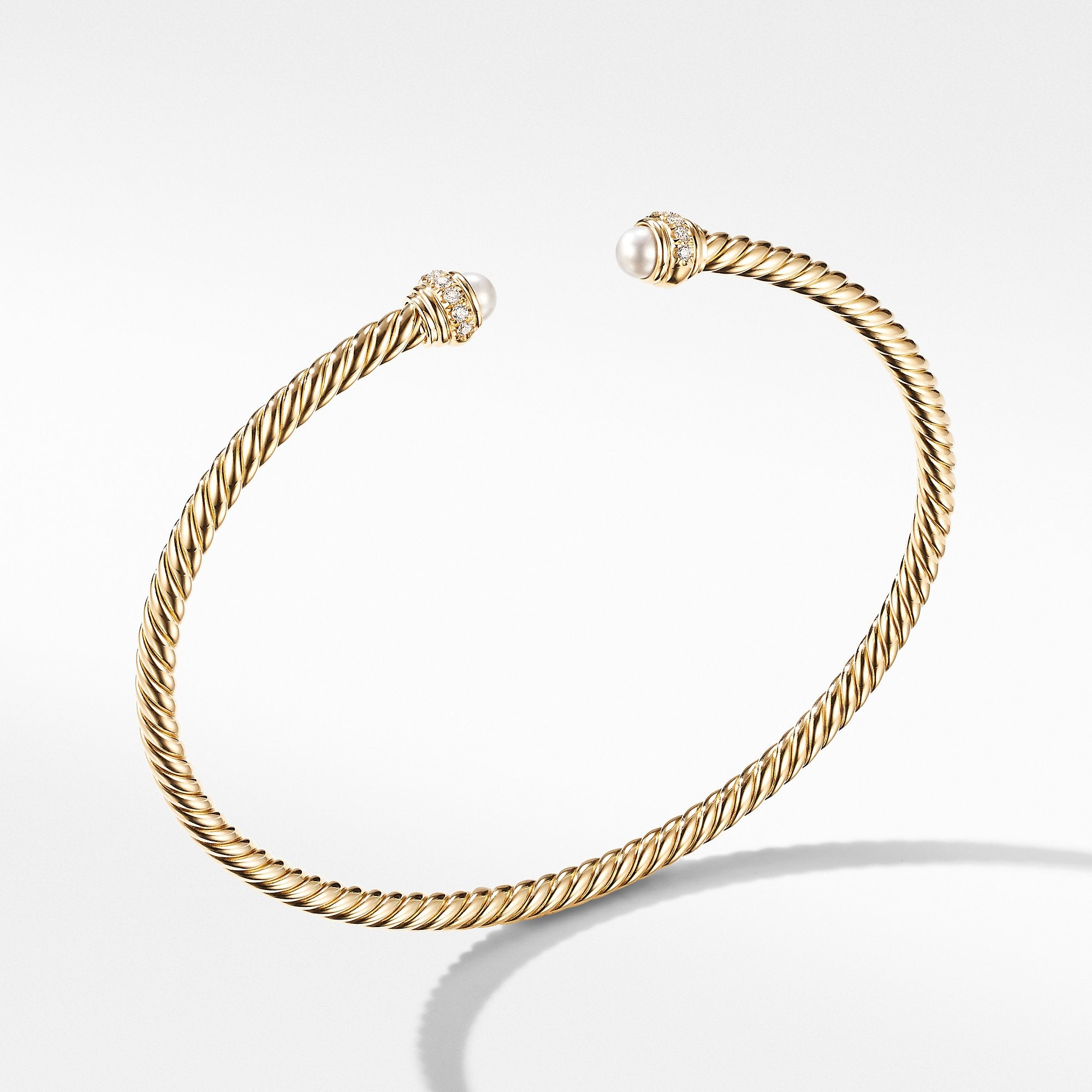 Cable Spira Bracelet in 18K Yellow Gold with Pearls and Diamonds