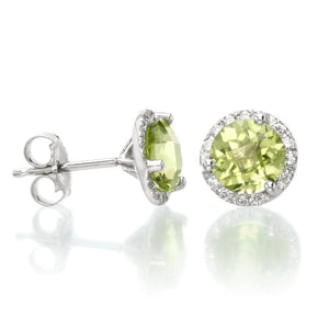 14K White Gold Diamond Halo Peridot Studs