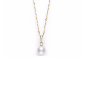18K Yellow Gold Pearl Pendant with Diamonds
