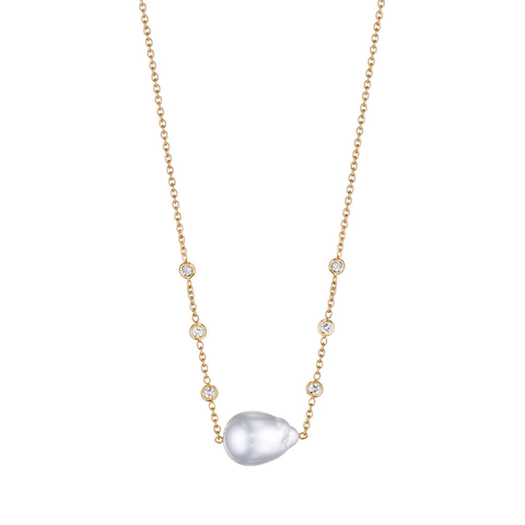 18K Yellow Gold White South Sea Pearl Necklace