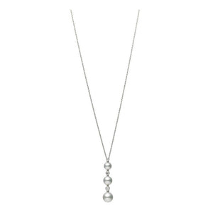 18K White Gold 3 Pearl Drop Necklace