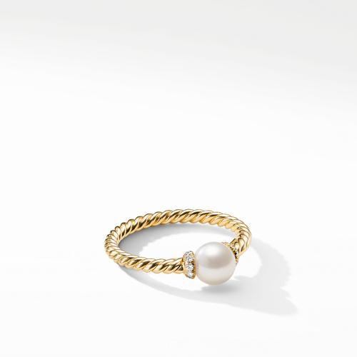 Solari Station Ring in 18K Yellow Gold with Cultured Pearl and Diamonds