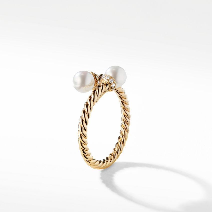 Petite Solari Bypass Ring with Cultured Pearl and Diamonds in 18K Yellow Gold
