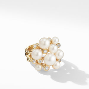 Large Pearl Cluster Ring in 18K Yellow Gold with Diamonds