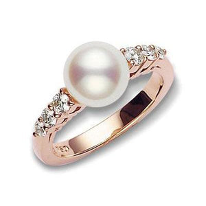 18K Rose Gold Pearl and Diamond Ring