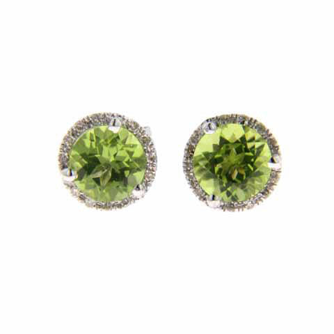 14K White Gold Round Peridot and Diamond Studs