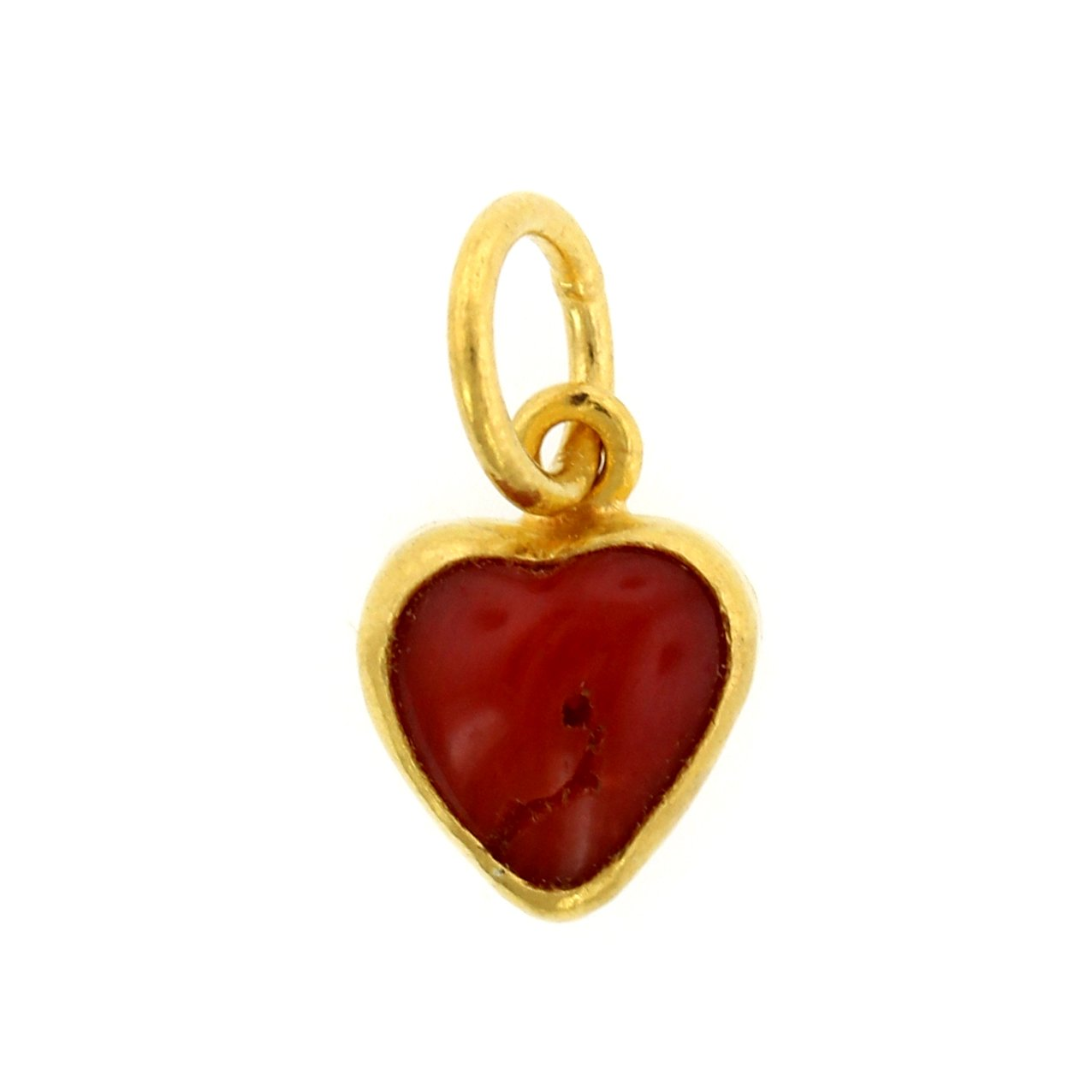 24K Yellow Gold Coral Heart Charm