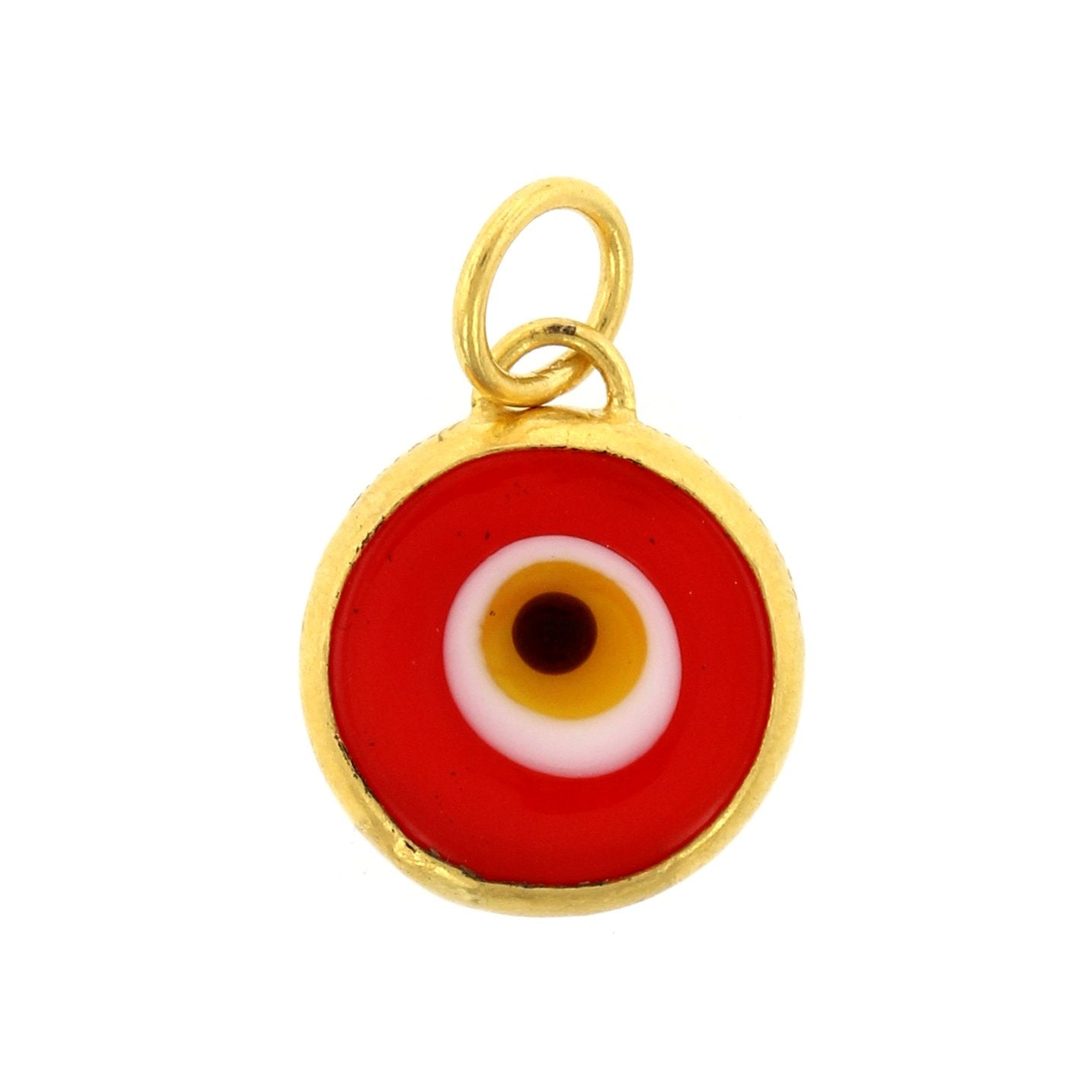 24K Yellow Gold Quartz Evil Eye Charm