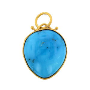 24K Yellow Gold Turquoise Charm