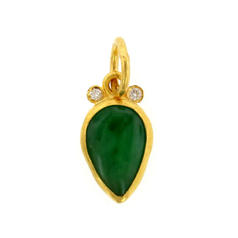 24K Yellow Gold Pear Jade Charm