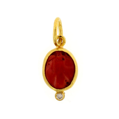 24K Yellow Gold Oval Coral Charm