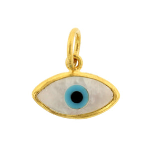 24K Yellow Gold Mother of Pearl Evil Eye Charm
