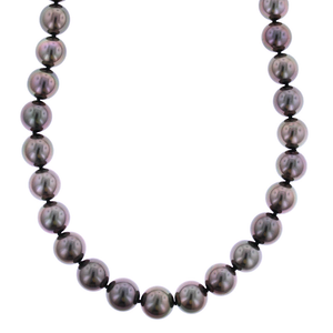 18K White Gold Black South Sea Pearl Necklace