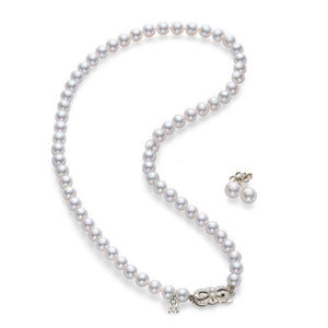 18K White Gold Pearl 2 Piece Set