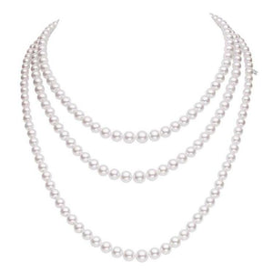 18K White Gold Triple Pearl Necklace