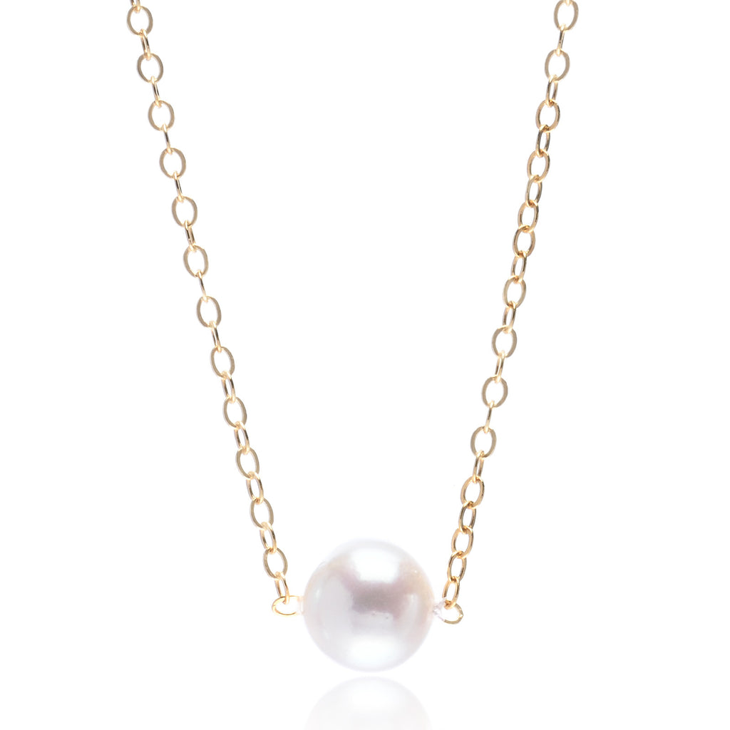 "14K Yellow Gold Princess Pearl 6mm Pendant on 16"" Chain"