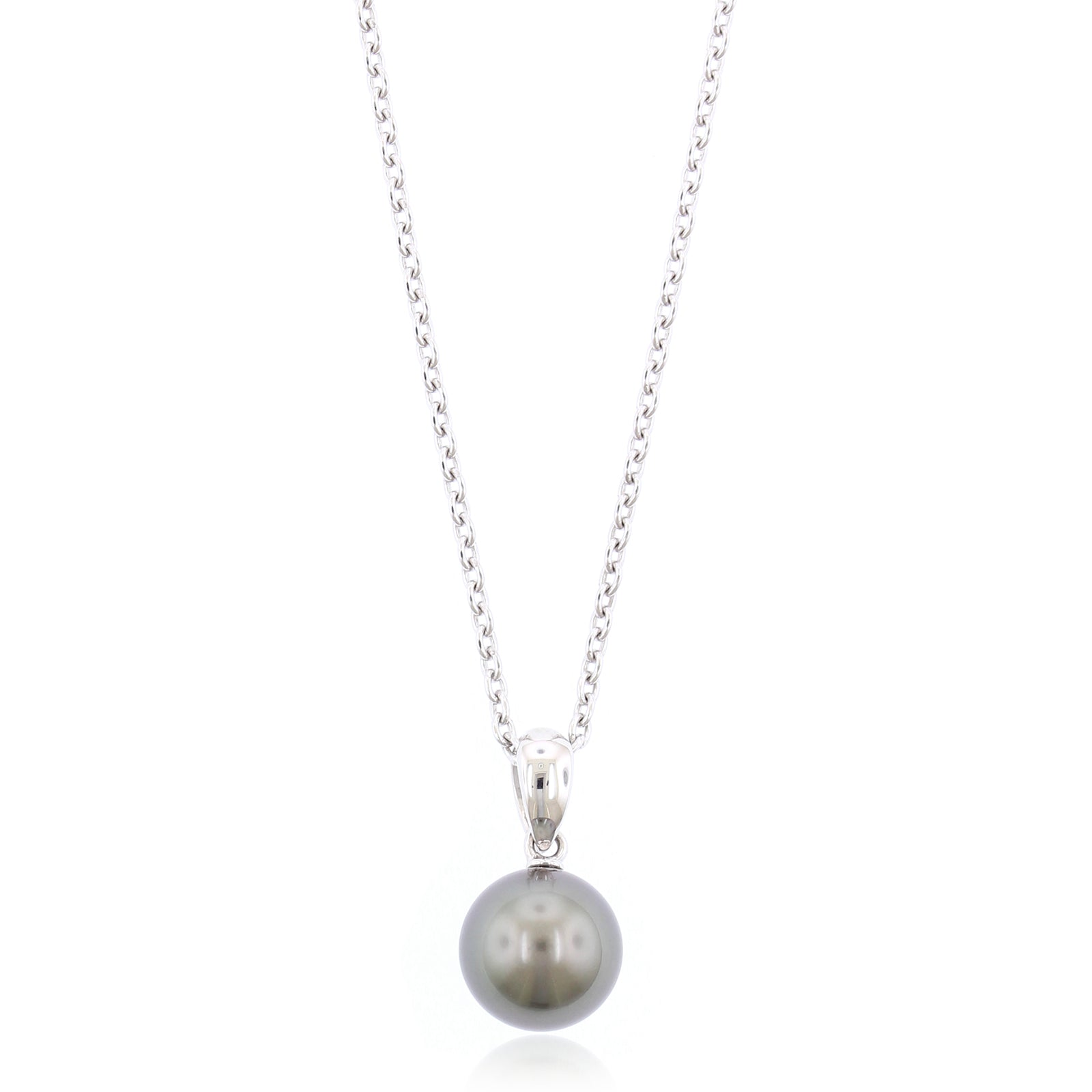 8mm Black South Sea Pearl Pendant in 18K White Gold