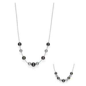 18K White Gold Black South Sea Pearls in Motion Pendant