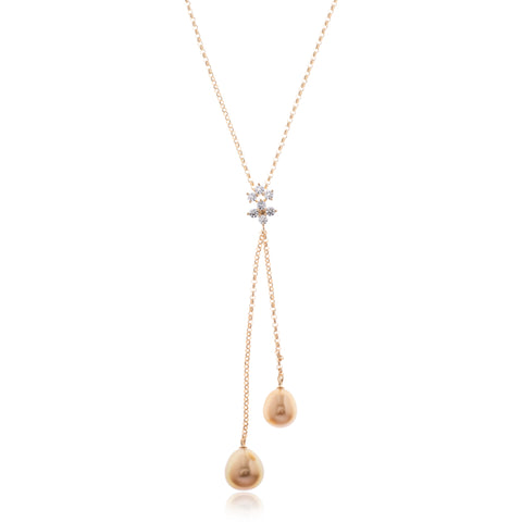 18K Yellow Gold Golden South Sea Pearl and Diamond Pendant