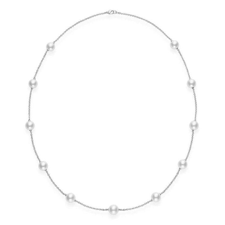 18K White Gold Chain Pearl Necklace