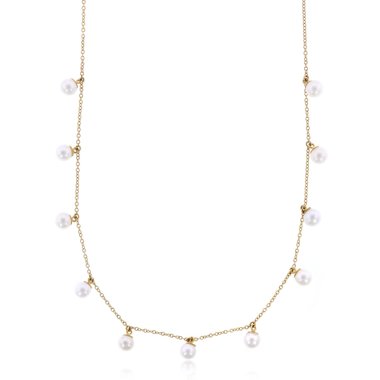 14K Yellow Gold Pearl Choker Chain Necklace