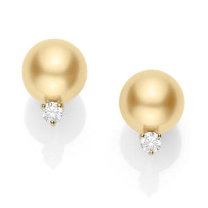 18K Yellow Gold Golden South Sea Pearl Diamond Earrings