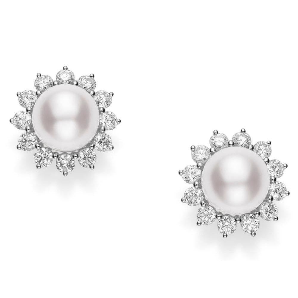 18K White Gold Pearl and Diamond Earrings
