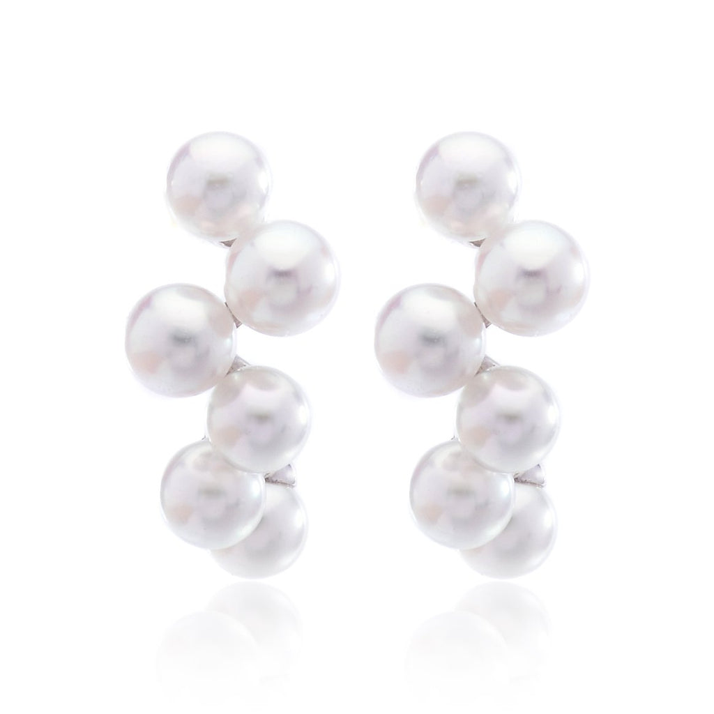 18K White Gold Pearl Cluster Earrings