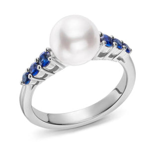 18K White Gold Pearl and Sapphire Ring