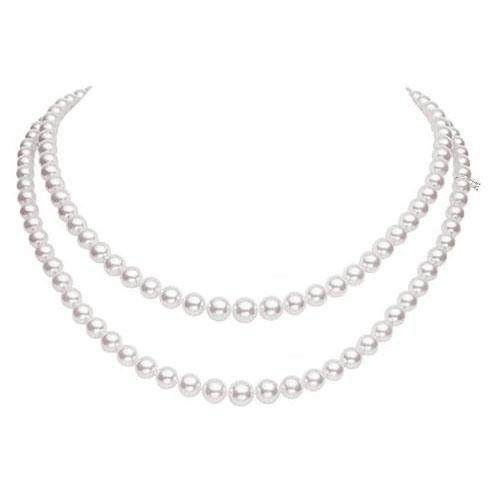 18K White Gold Double Strand Necklace