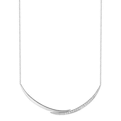 18K White Gold Crescent Overlap Necklace with Diamonds
