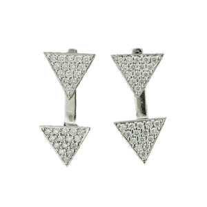 18K White Gold Triangle Diamond Pave Earring with Adjustable Triangle Jacket