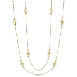 "18K Yellow Gold Harlow Deco Scroll 34"" Necklace with Diamonds"