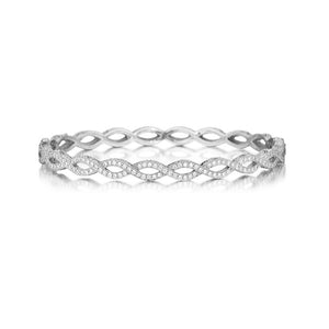 18K White Gold Entwined Bangle with Diamonds