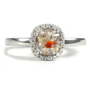 18K White Gold Rose Cut Diamond Ring