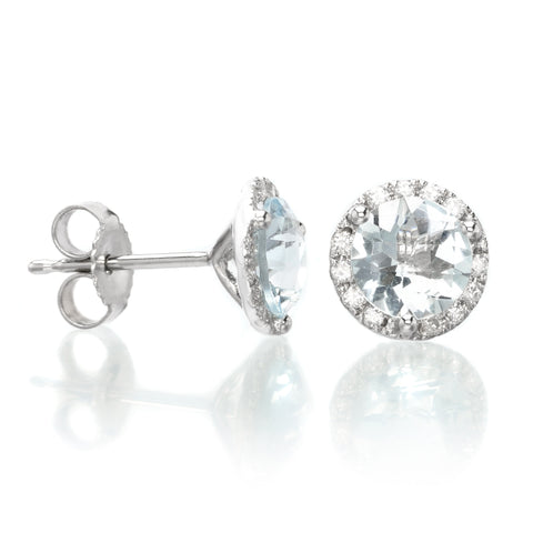 14K White Gold Diamond Halo Aquamarine Studs