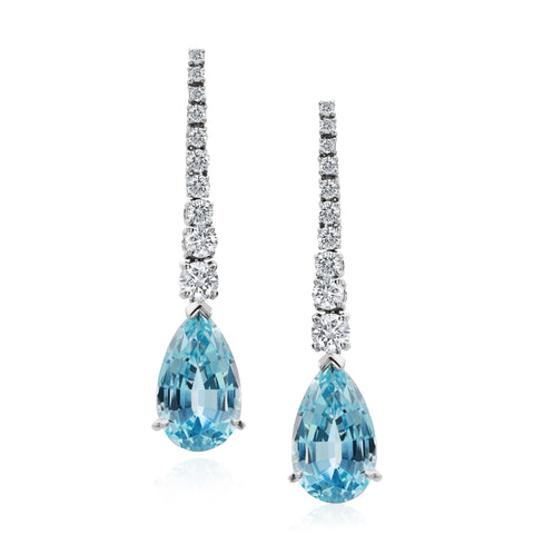 Platinum Pear Shaped Aquamarine and Diamond Earrings