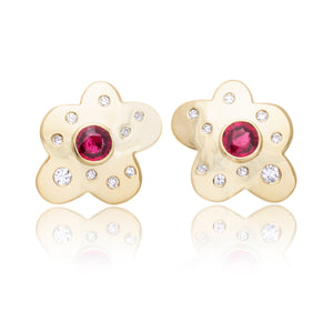 18K Yellow Gold Ruby and Bezel Set Diamond Earrings