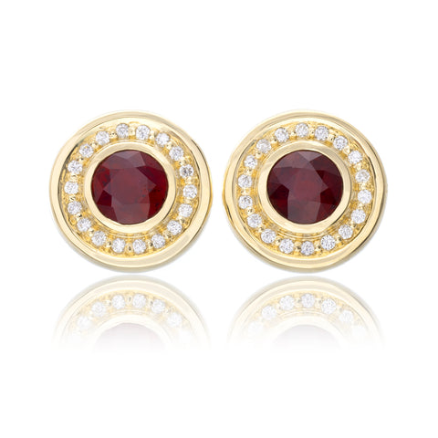 18K Yellow Gold Bezel Set Ruby Earrings