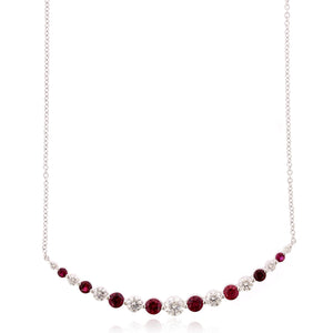 18K White Gold Diamond and Ruby Curve Bar Necklace