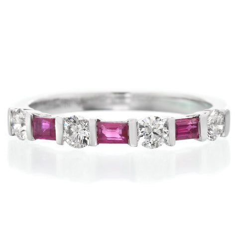 18K White Gold Alternating Round Diamond & Ruby Baguette Band