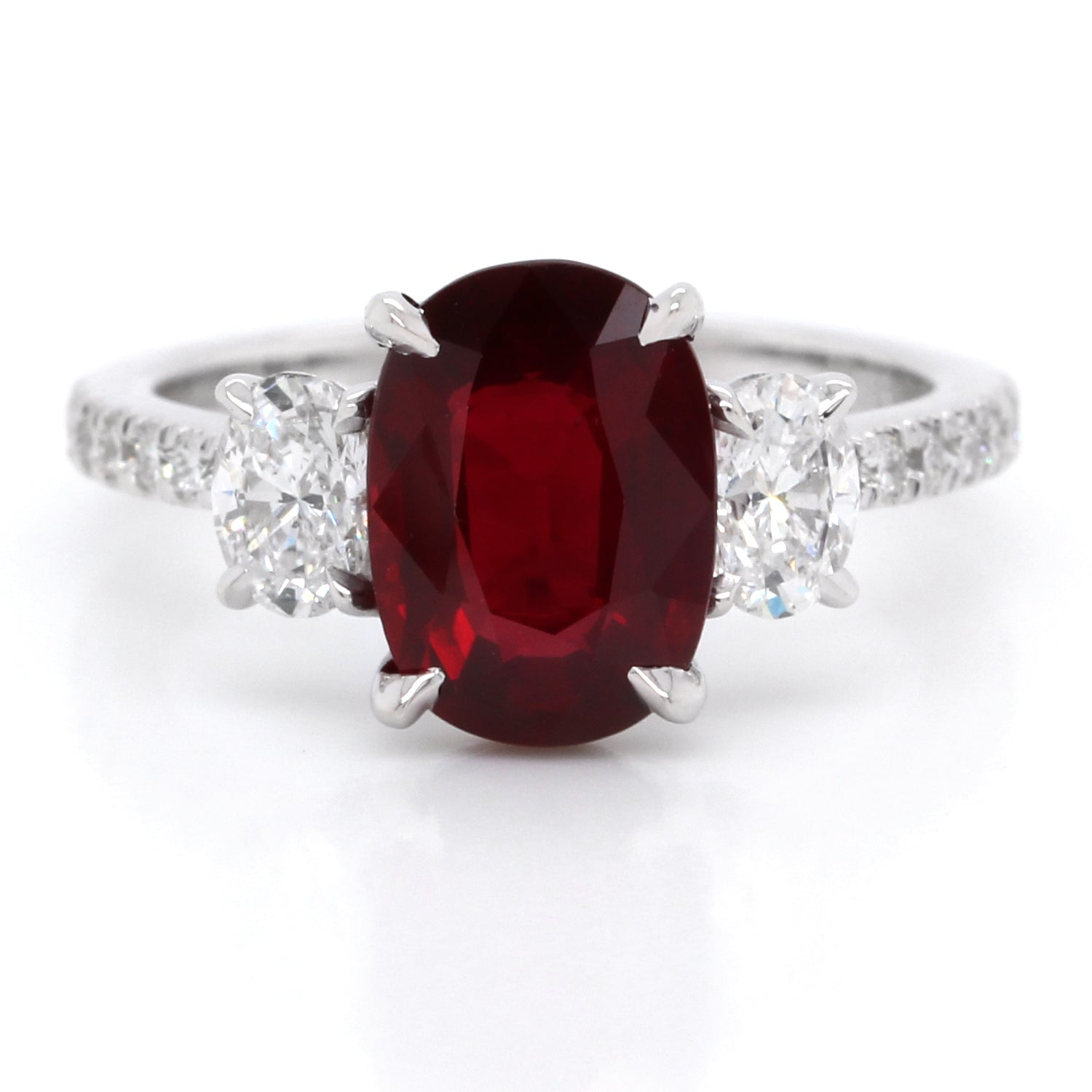 18K White Gold Oval Ruby and Diamond Ring