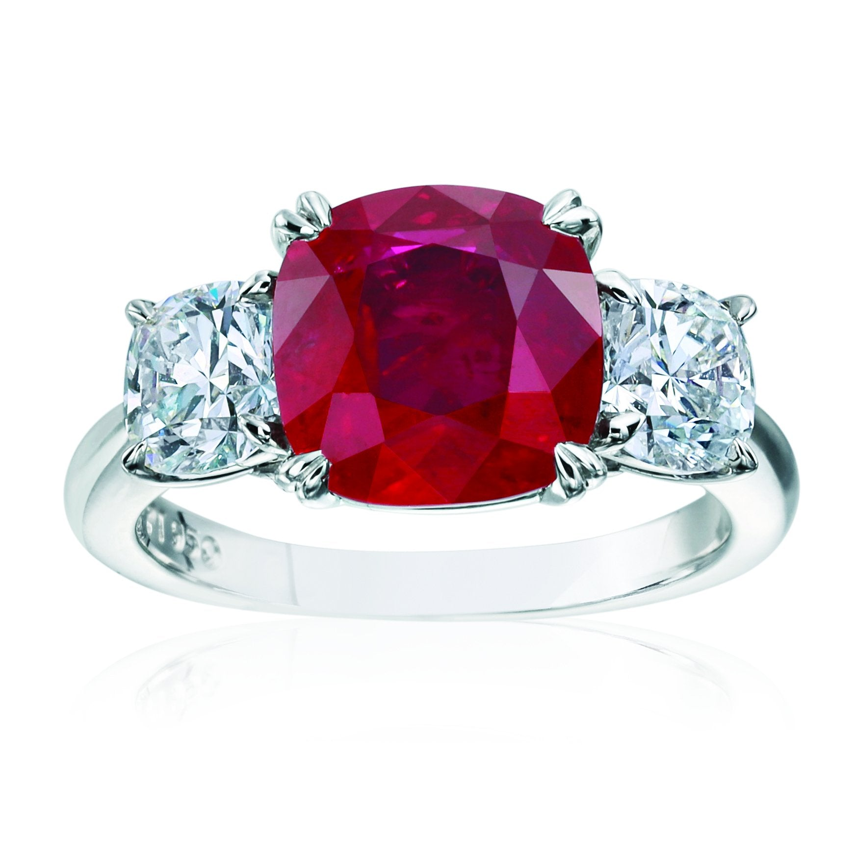 Platinum Cushion Cut Ruby Ring with Diamonds
